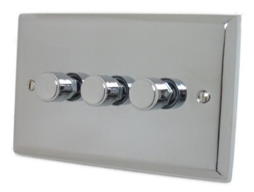 G&H SC13 Spectrum Plate Polished Chrome 3 Gang 1 or 2 Way 40-400W Dimmer Switch